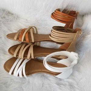 Shoes - SALE !! NWT 3 Colors Strappy Flats Sandals Asst Sz